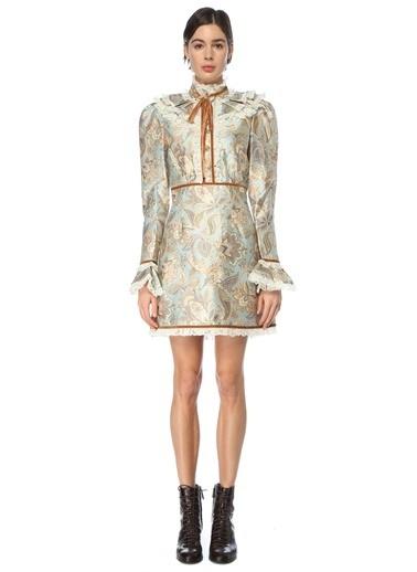Zimmermann Zimmermann  Desenli Dantel Garnili Yün Mini Elbise 101544235 Renkli